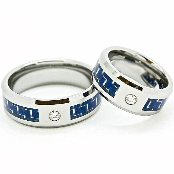 Matching 8mm Tungsten Rings with Blue Carbon Fiber Inlay and