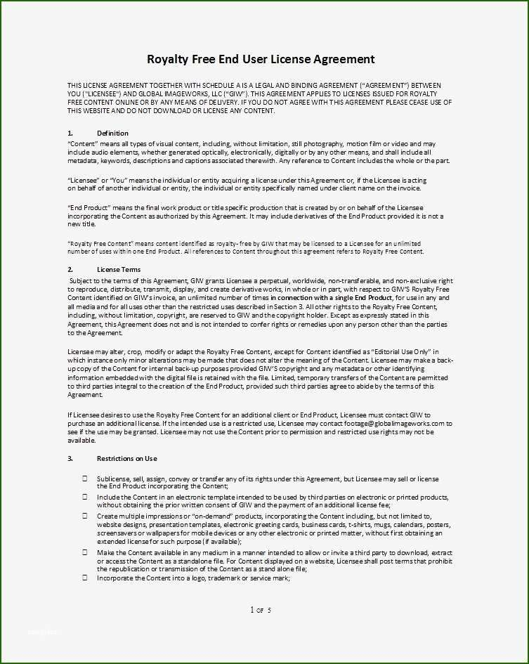 Skillful Image License Agreement Template 2020 Free Cover Letter Cover Letter For Resume Agreement