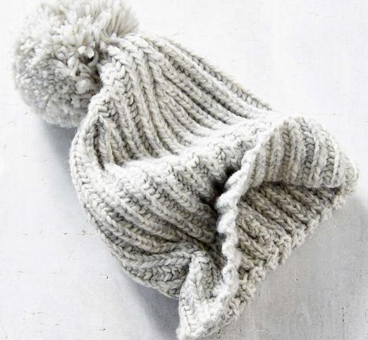 Grey wool hat with pom pom