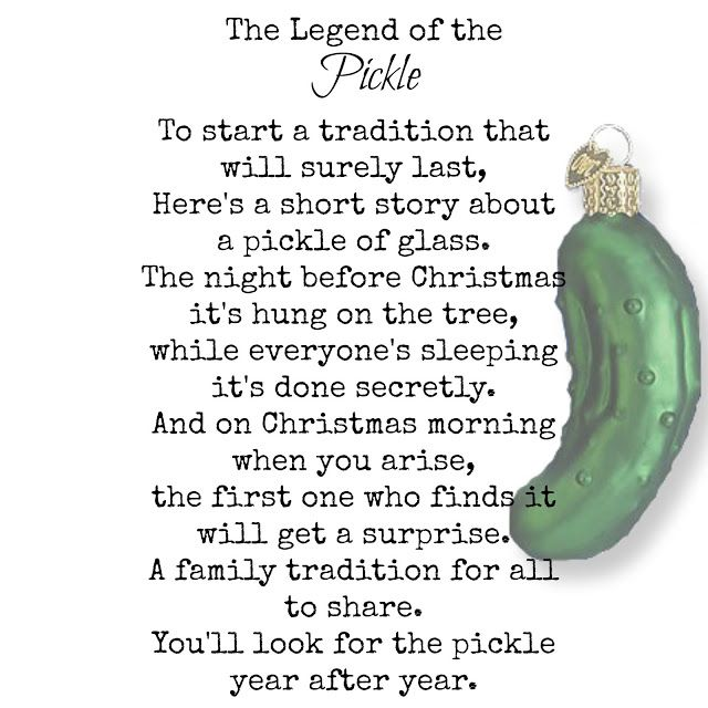 image about Christmas Pickle Story Printable titled Pickle Poem - Legend of the Pickle - Classic Treasures