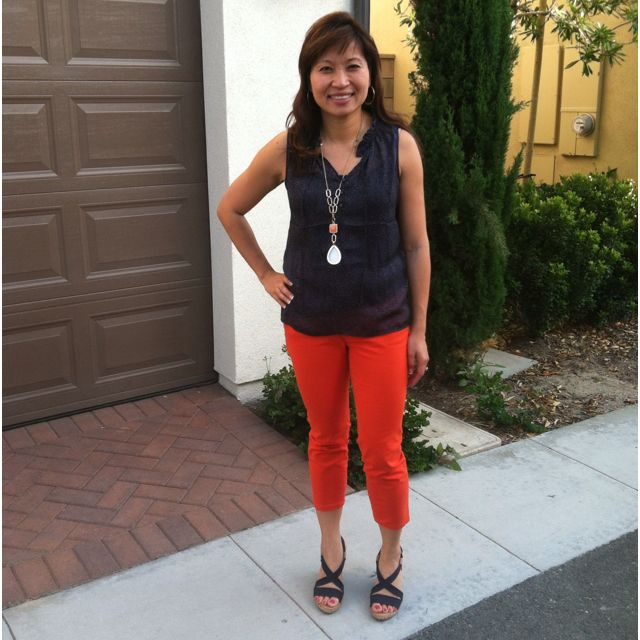 Love for orange & navy continues. Top & jeans - Loft, necklace & wedges - Banana Republic