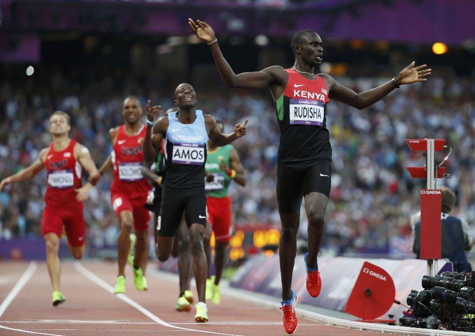 Kenya's David Lekuta Rudisha reacts after winning the men