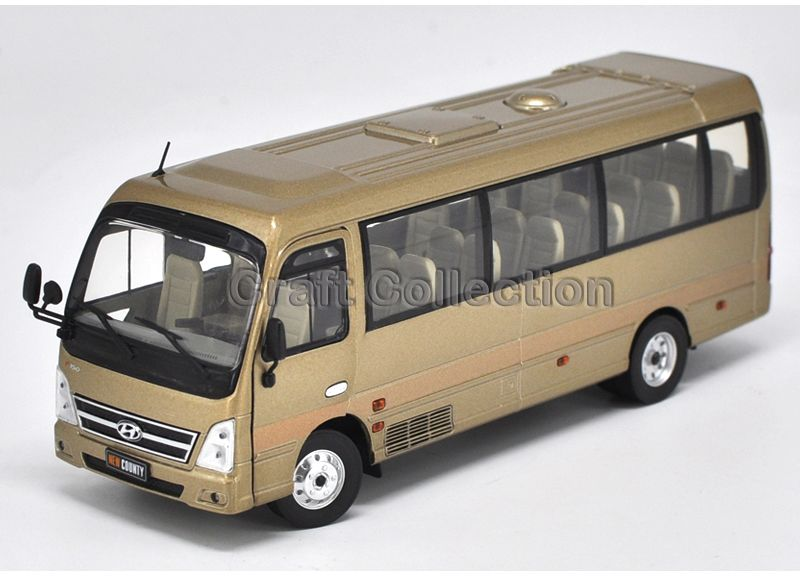 gold 1 32 hyundai county travel bus high simulation alloy toys scale models passenger station. Black Bedroom Furniture Sets. Home Design Ideas