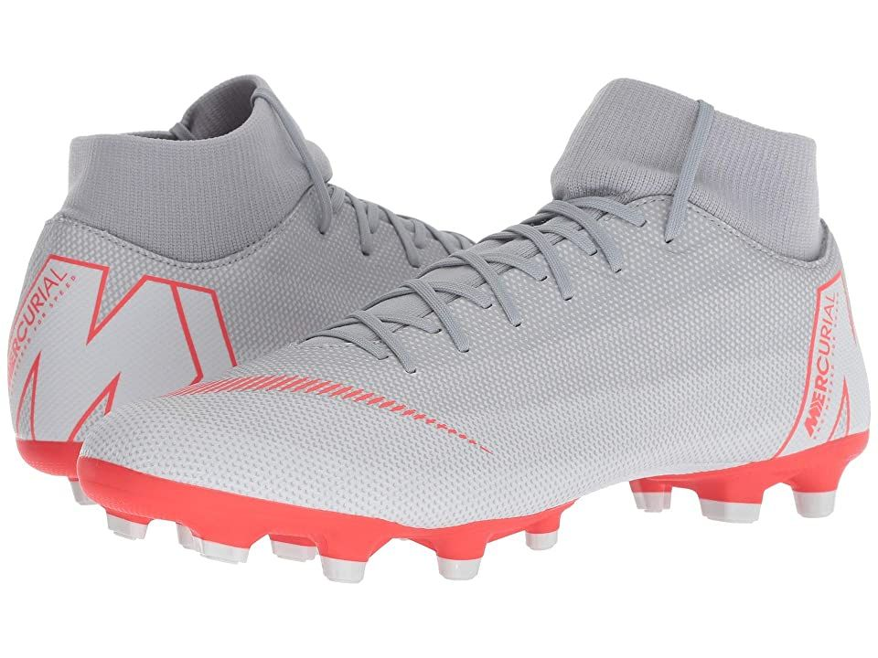 Nike Superfly 6 Academy MG (Wolf Grey/Light Crimson/Pure Platinum) Men's Soccer Shoes. Bring your A-game to every match with the Superfly 6 Academy MG soccer cleats by Nike. Durable synthetic upper is textured for better ball handling. Fully adjustable lace-up closure. Dynamic fit collar allows free ankle movement. Soft and breathable textile linings. Cushioned textile insole. Molded arch support. Multi-ground Speed System out #Nike #Shoes #Athletic #Soccer #Gray