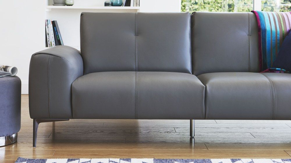 3 Seater Leather Sofa With Sching