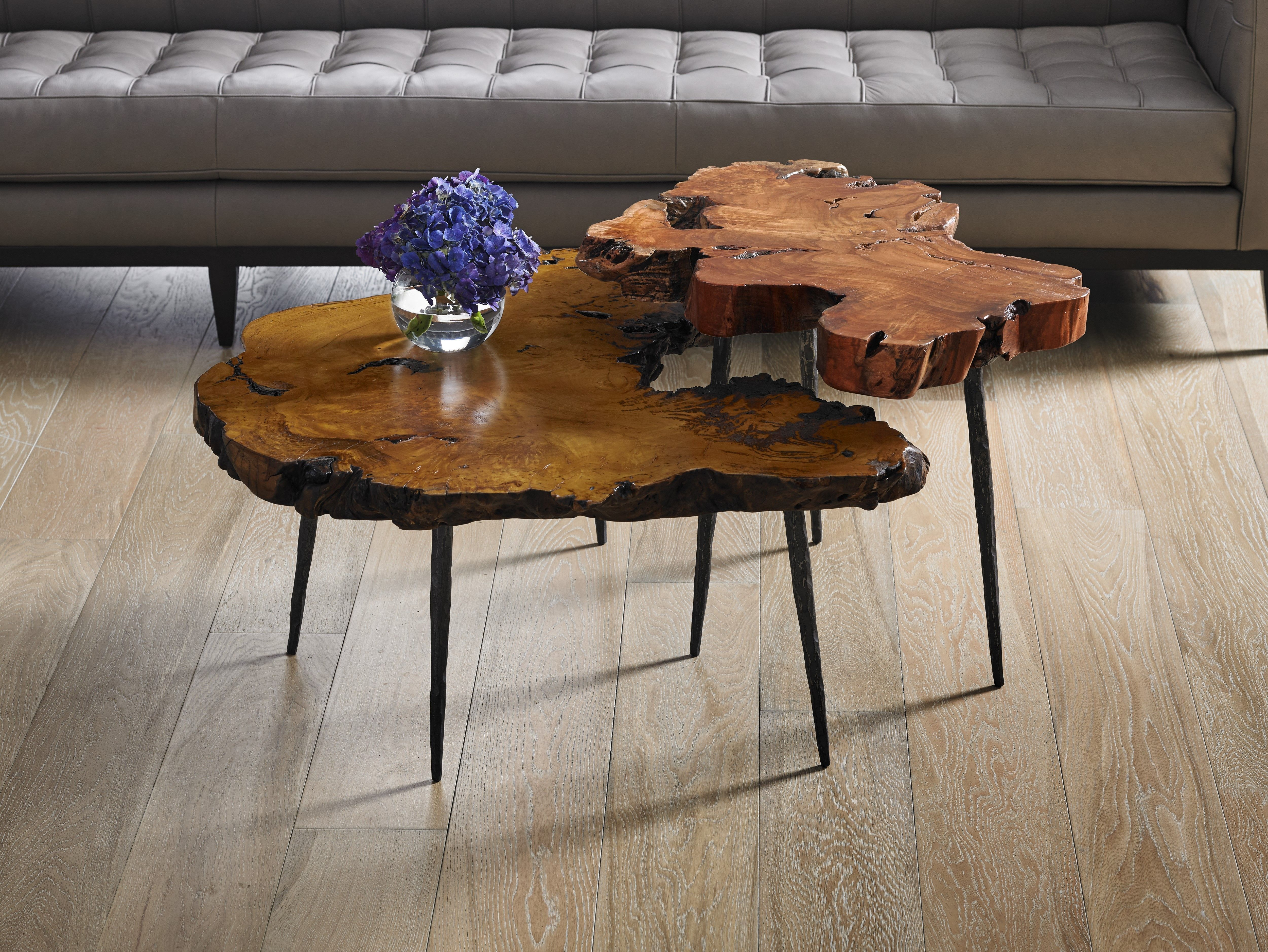 Burled Wood Tables Made From Slices Of Real Burl And Mounted At Different  Heights. Works Great Clustered Together In Different Heights.