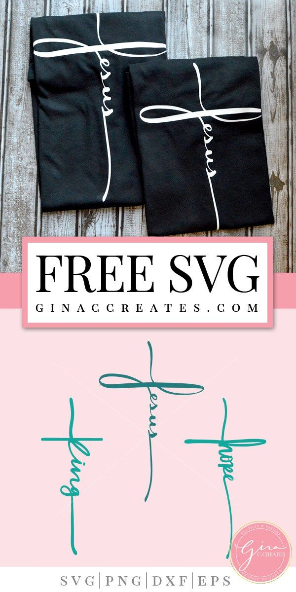 Free SVG Cut File | Jesus, King & Hope Cross