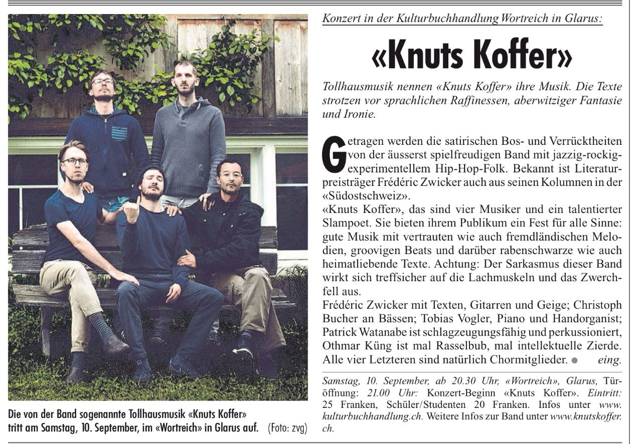 Fridolin, Donnerstag, 1. September 2016 Seite 14. Knuts Koffer im Wortreich