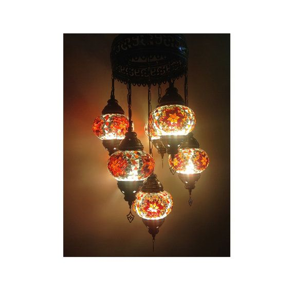 Unique Handmade 7 Pieces Turkish hanging Glass by LampsGalaxy