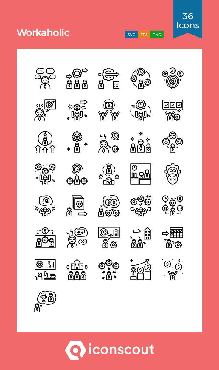 Download Workaholic Icon Pack Available In Svg Png Eps Ai Icon Fonts In 2021 Icon Pack Icon Icon Font