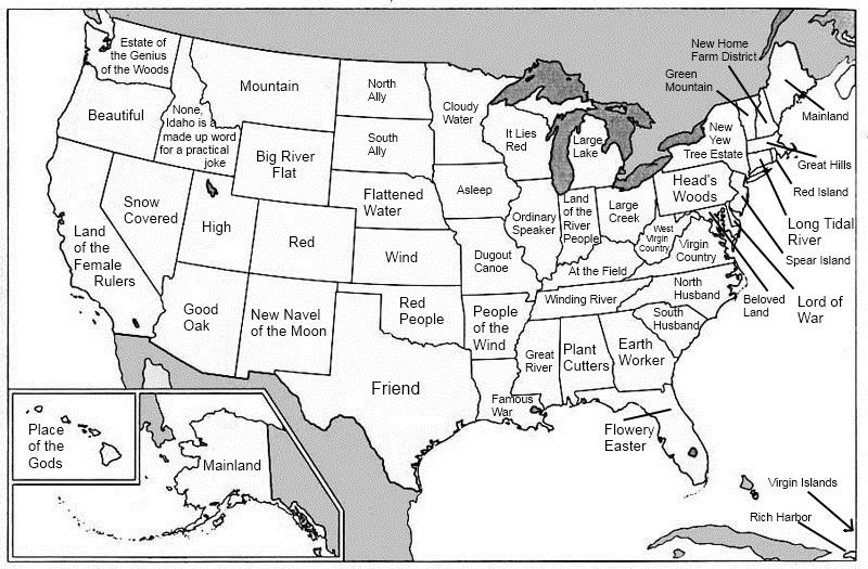 Map of the us what each state name means knowledge pinterest a map of the united states with each states name replaced with its etymological root translated into english as a washatonion i love washingtons gumiabroncs Images