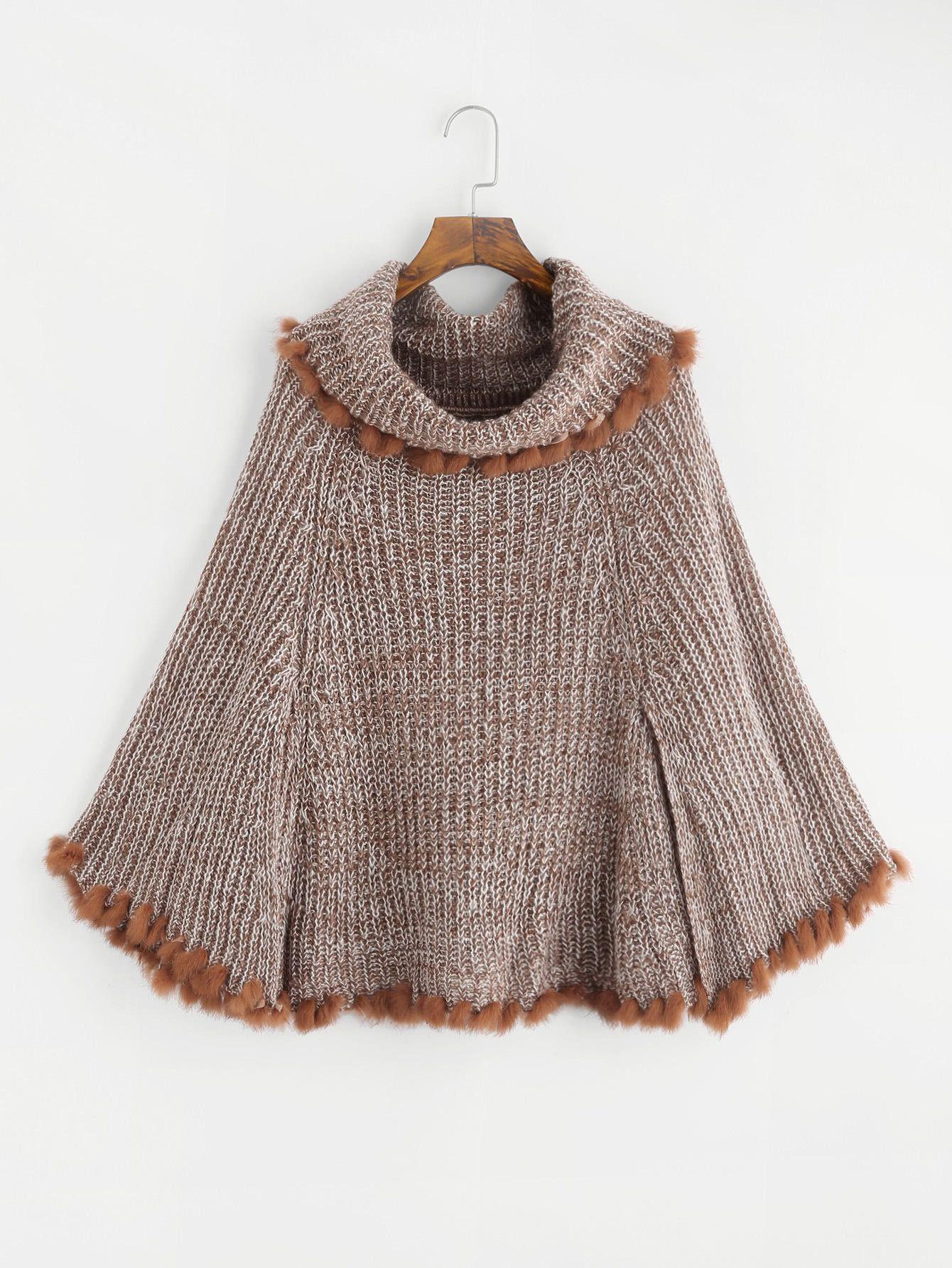 7e2e0577c7d Shop Faux Fur Trim Cape Sweater online. SheIn offers Faux Fur Trim Cape  Sweater   more to fit your fashionable needs.
