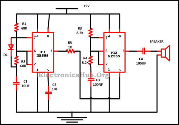 Police Siren Circuit using NE555 Timer | Electronic circuit ... on