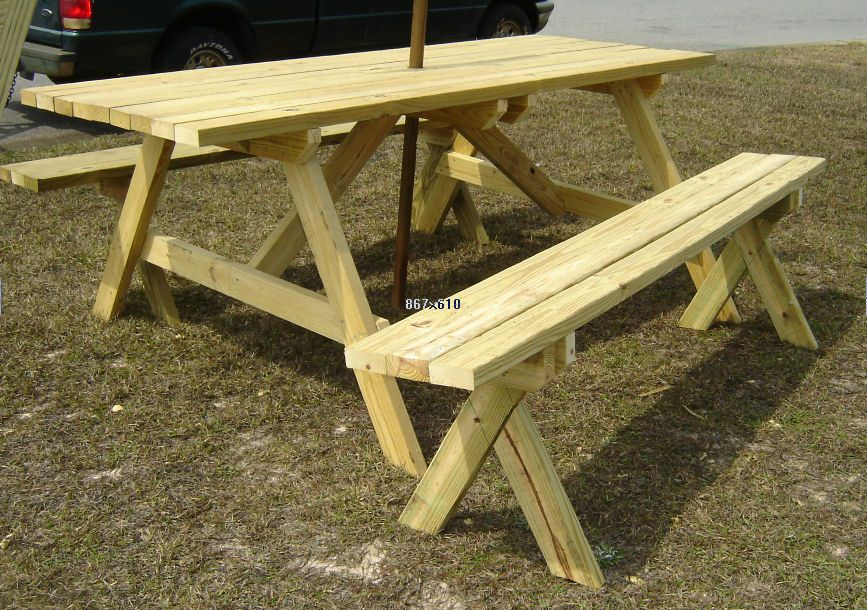 7 Foot Picnic Table With Umbrella And Detached Benches Picnic