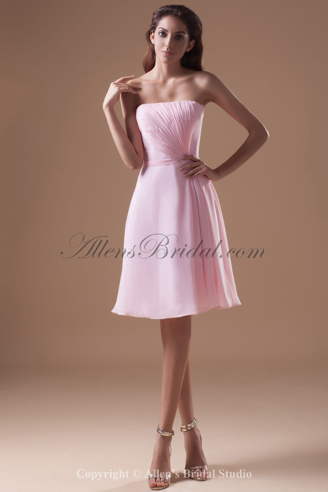 Chiffon Strapless Neckline Knee Length Column Prom Dress on sale at affordable prices, buy Chiffon Strapless Neckline Knee Length Column Prom Dress at AllensBridal.com now!
