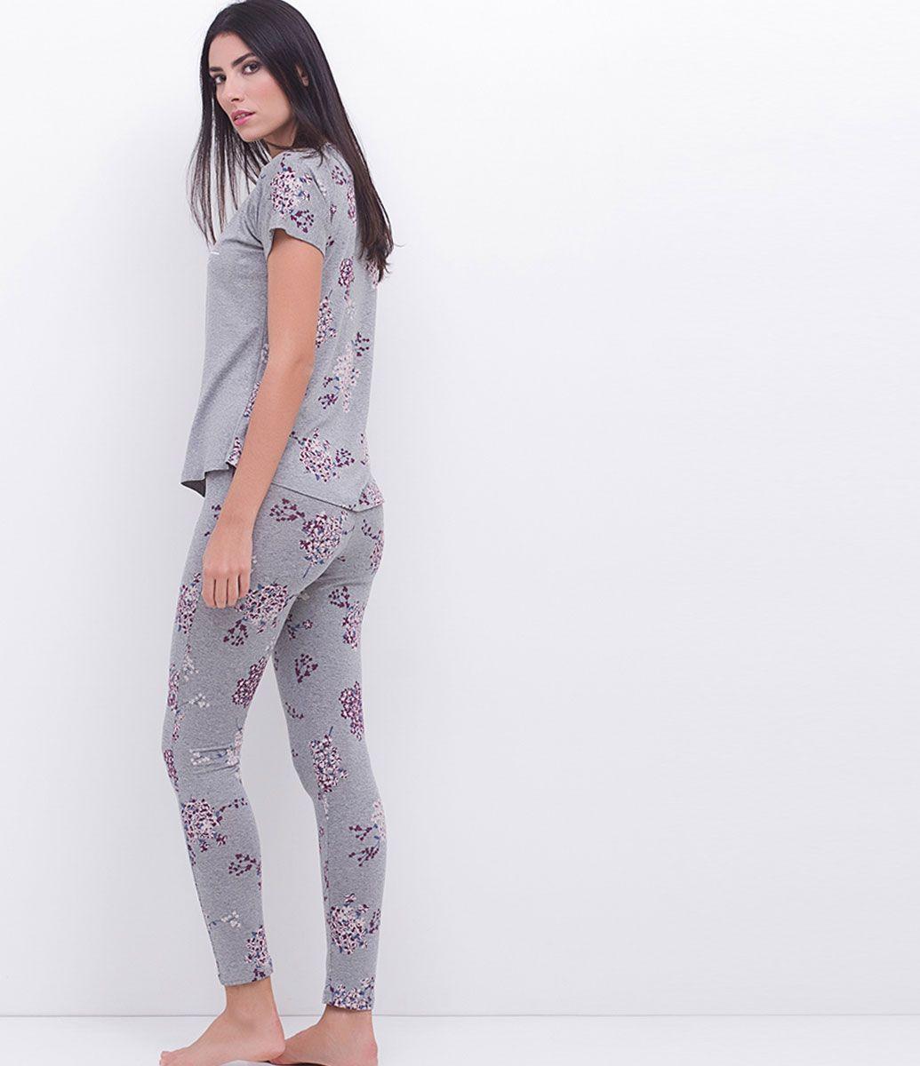 e4af5296e3ec86 Pijama feminino Manga curta Floral Blusa com estampa Calça legging ...