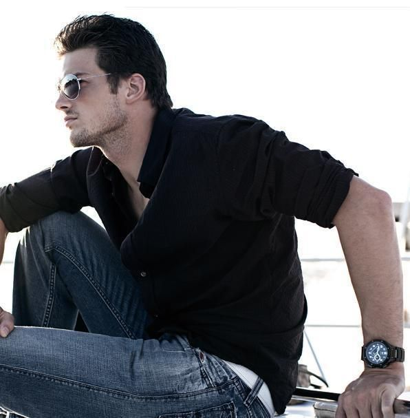 hot guy wearing black shirt with sleeves rolled up | Hot guys with ...