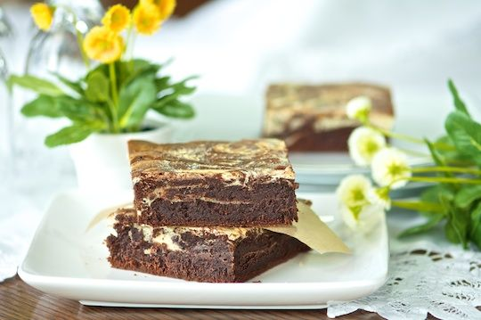 Fudgy chocolate cream cheese brownies with Baileys recipe - Foodista.com I made these yesterday, and they are MAJOR