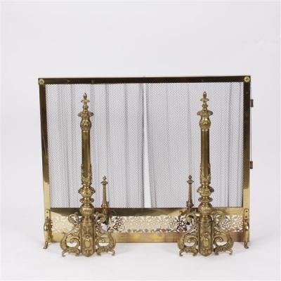 Antique 19th Century French Gilt Bronze Andirons With Brass