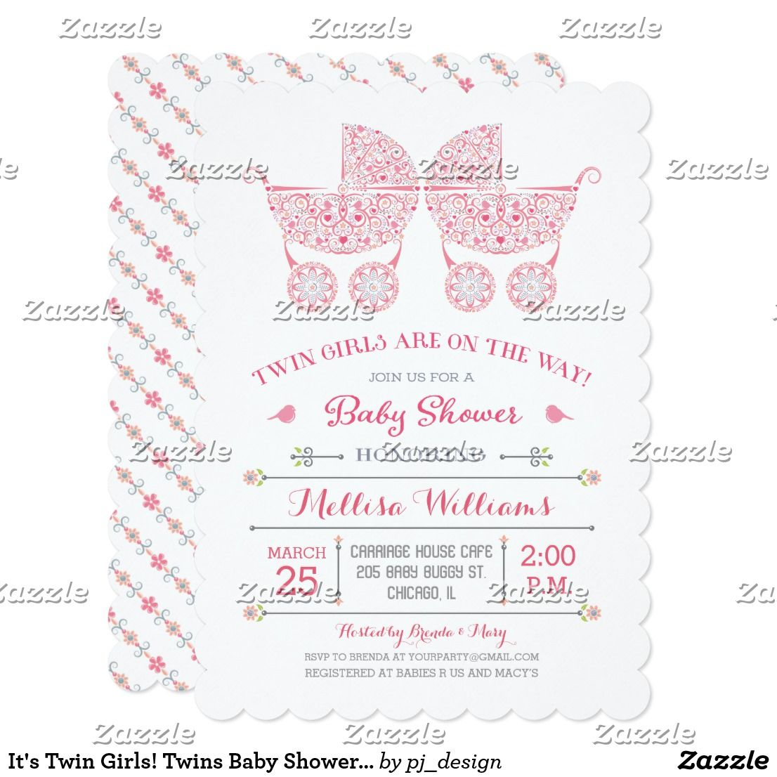 It\'s Twin Girls! Twins Baby Shower Invitation Modern lacy style baby ...