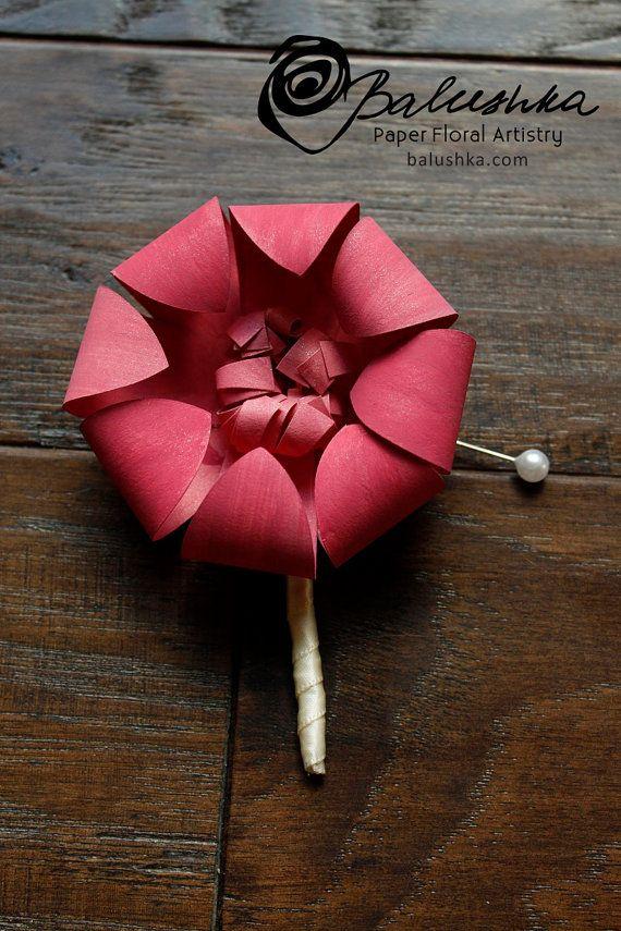 Boutonniere Handmade Paper Flower Mens Boutonniere Wedding Flower Wedding Favor