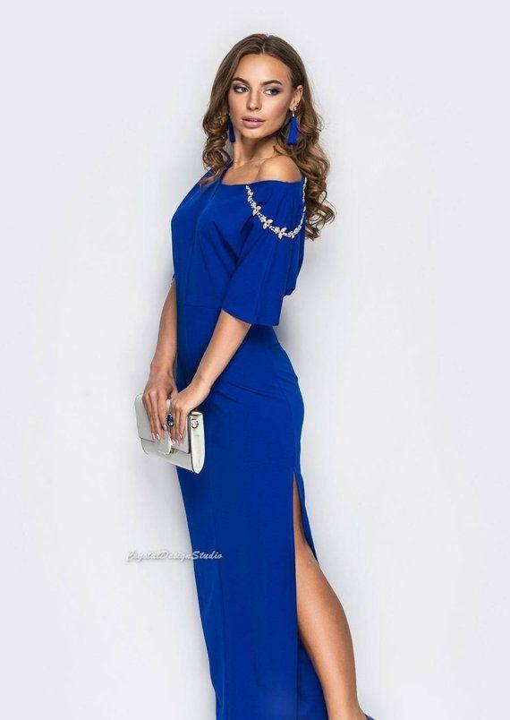 350c42aafdf5 Elegant asymmetric dress Maxi dress spring Tight dress Women s dress Royal  Blue Floor length dress