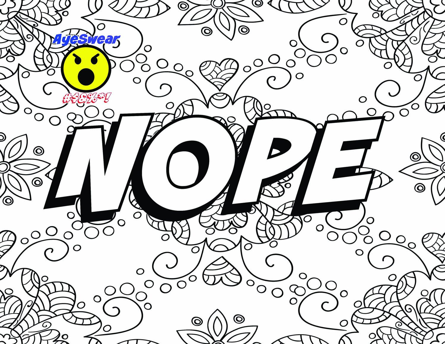 nope instant download printable coloring page take some of the