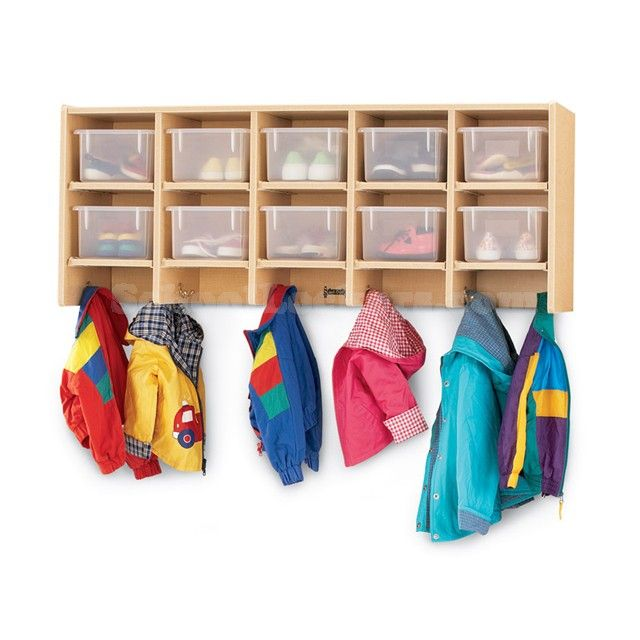 Kids Maple Cubby Lockers - enable efficient use of space. Provide 10 individual cubby compartments along with double hooks for hanging coats, backpacks, bags and more! #storage #cubbies