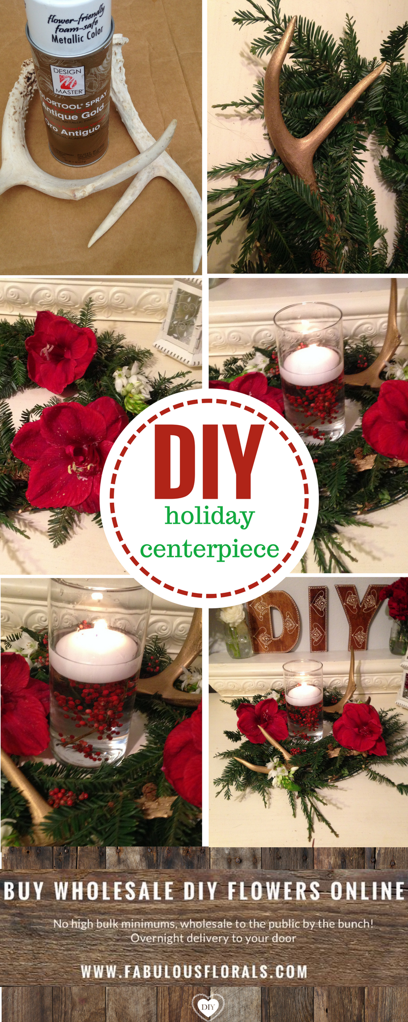 DIY Holiday antler Centerpiece 2017 Christmas flower trends!  www.fabulousflorals.com The #