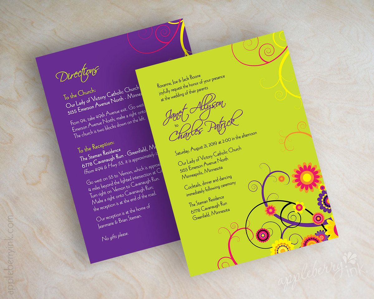 Orange And Green Wedding Invitations: Orange, Purple, Lime Green