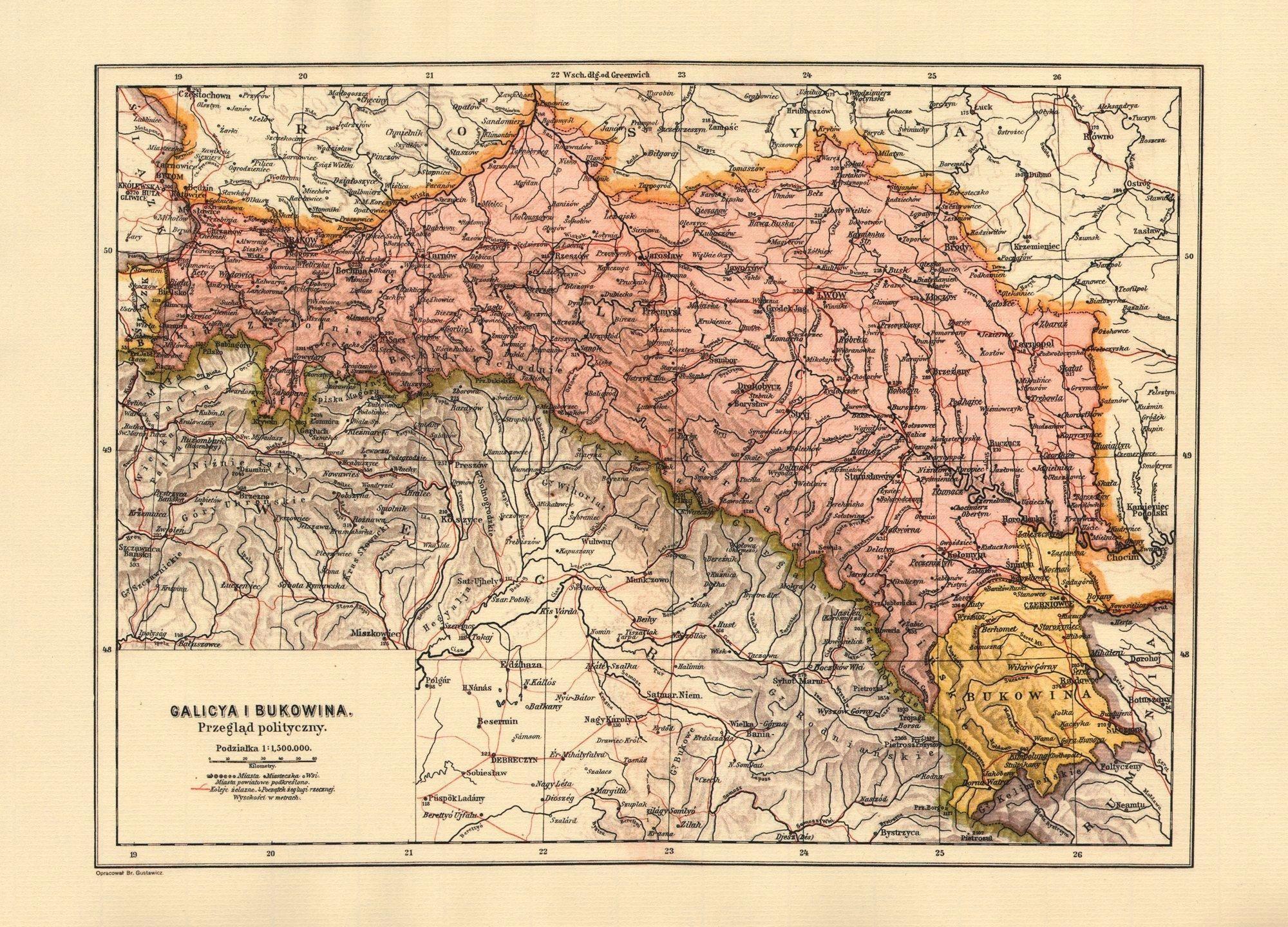 map of galicia austria 1900 Galicia And Bukovina Provinces Of Austria Hungary 1900 map of galicia austria 1900