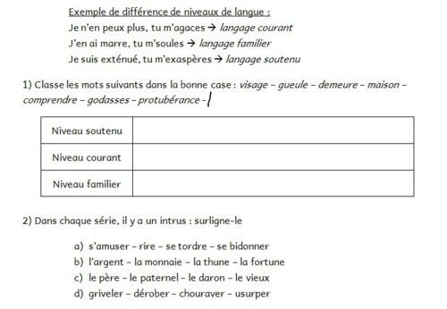 les niveaux    registres de langue