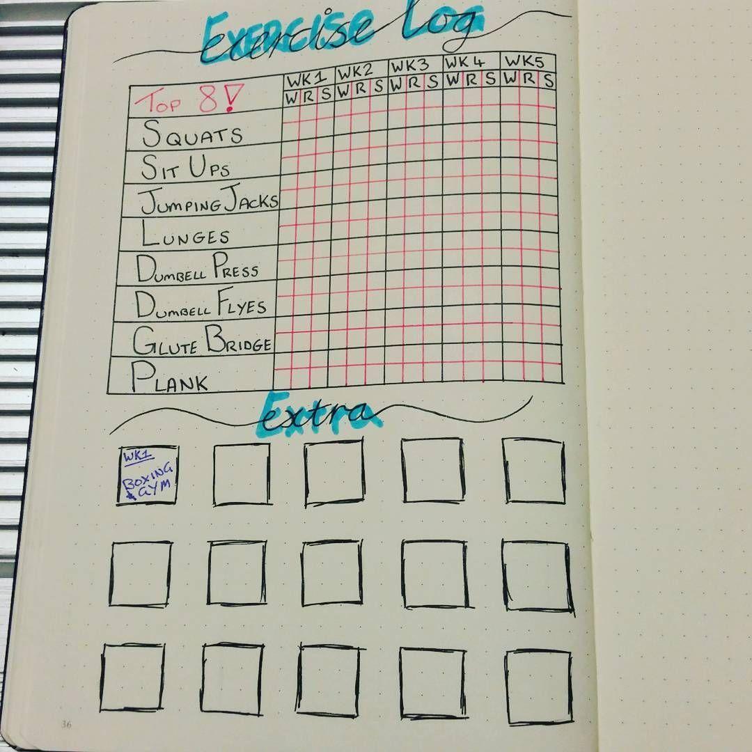 Bullet Journal Layouts For Health and Fitness Goals | POPSUGAR Fitness Australia #fitness goals bull...