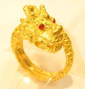 23k 23kt solid gold dragon ring thai baht india 41 Solid gold