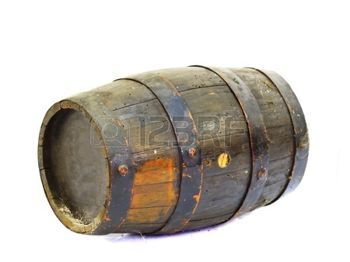 The Fuel Wood Old Wooden Barrel In A White Background Stock Photo