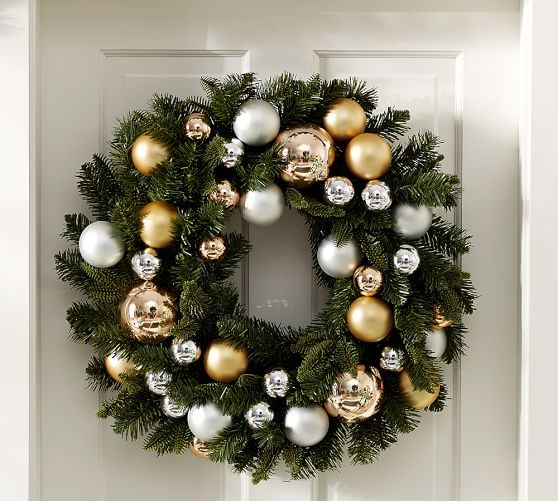Outdoor Ornament Pine Wreath - Gold/Silver | Pottery Barn
