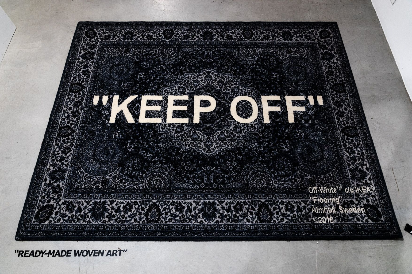 d22fb7a10a8a Virgil Abloh x IKEA Off-White Collection BLUE RED Rug KEEP OFF SCULPTURE bag  doorstopper