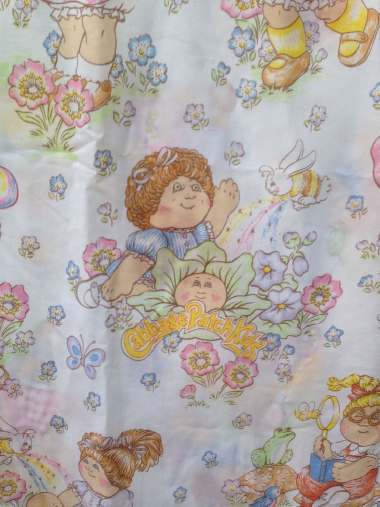 Vintage Cabbage Patch Kids Full Bed Flat Sheet 1983 OAA Inc Craft ...