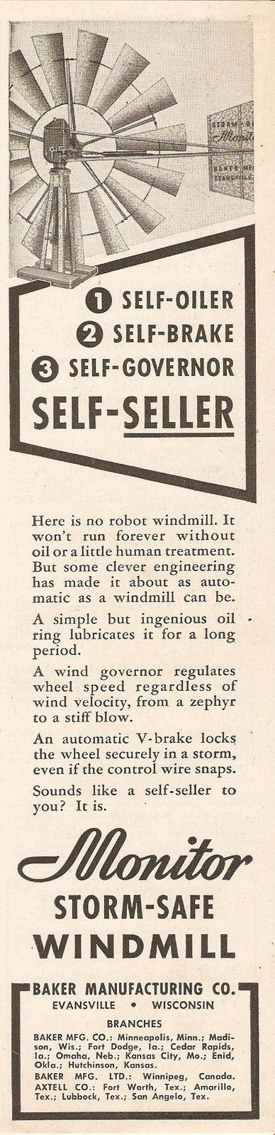 1947 Monitor Storm Safe Windmill Ad Baker Mfg Evansville Wi Wisconsin Evansville Wisconsin Windmill
