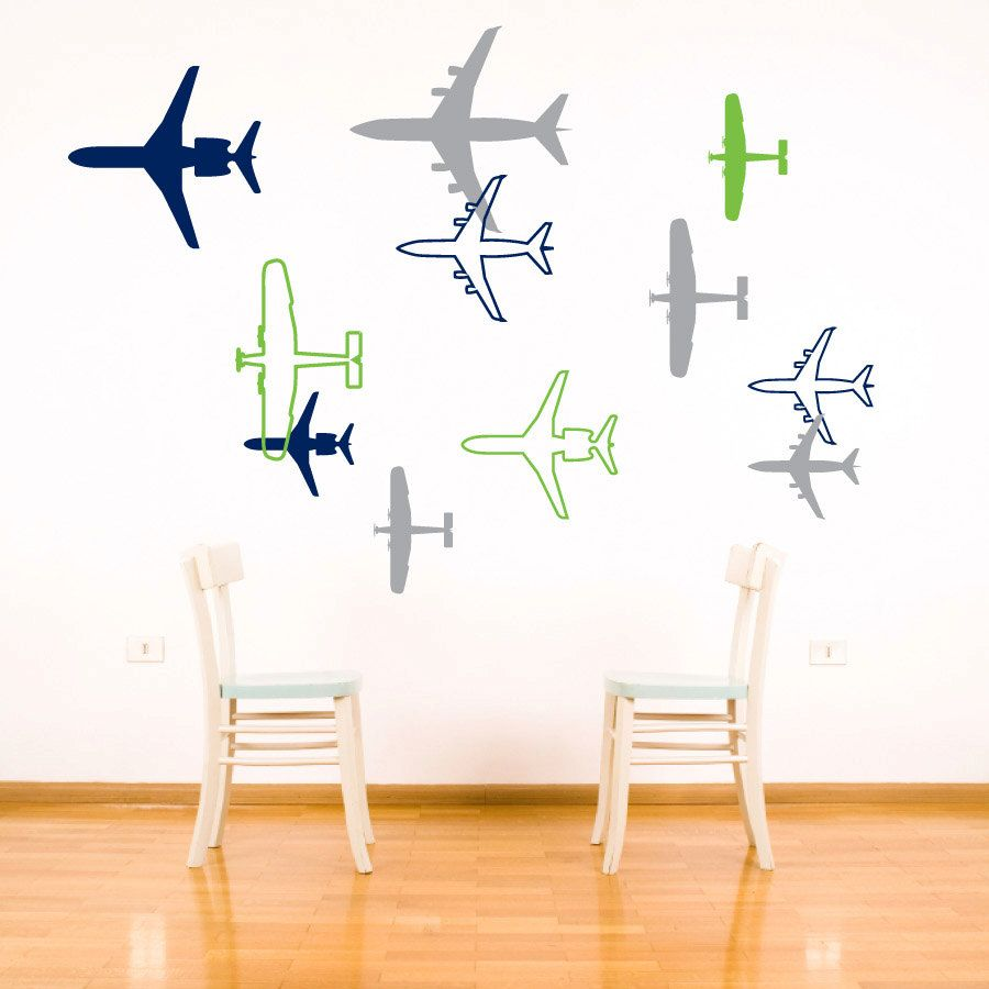 Airplane Wall Decal Aviation Childrens Bedroom Wall Decor Sticker Boy Vinyl Wall Art Plane Silhou Airplane Wall Wall Decor Stickers Airplanes Wall Decals [ 900 x 900 Pixel ]
