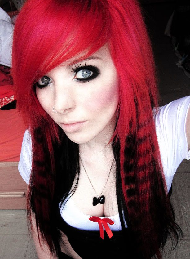 Girl red with emo hair Black