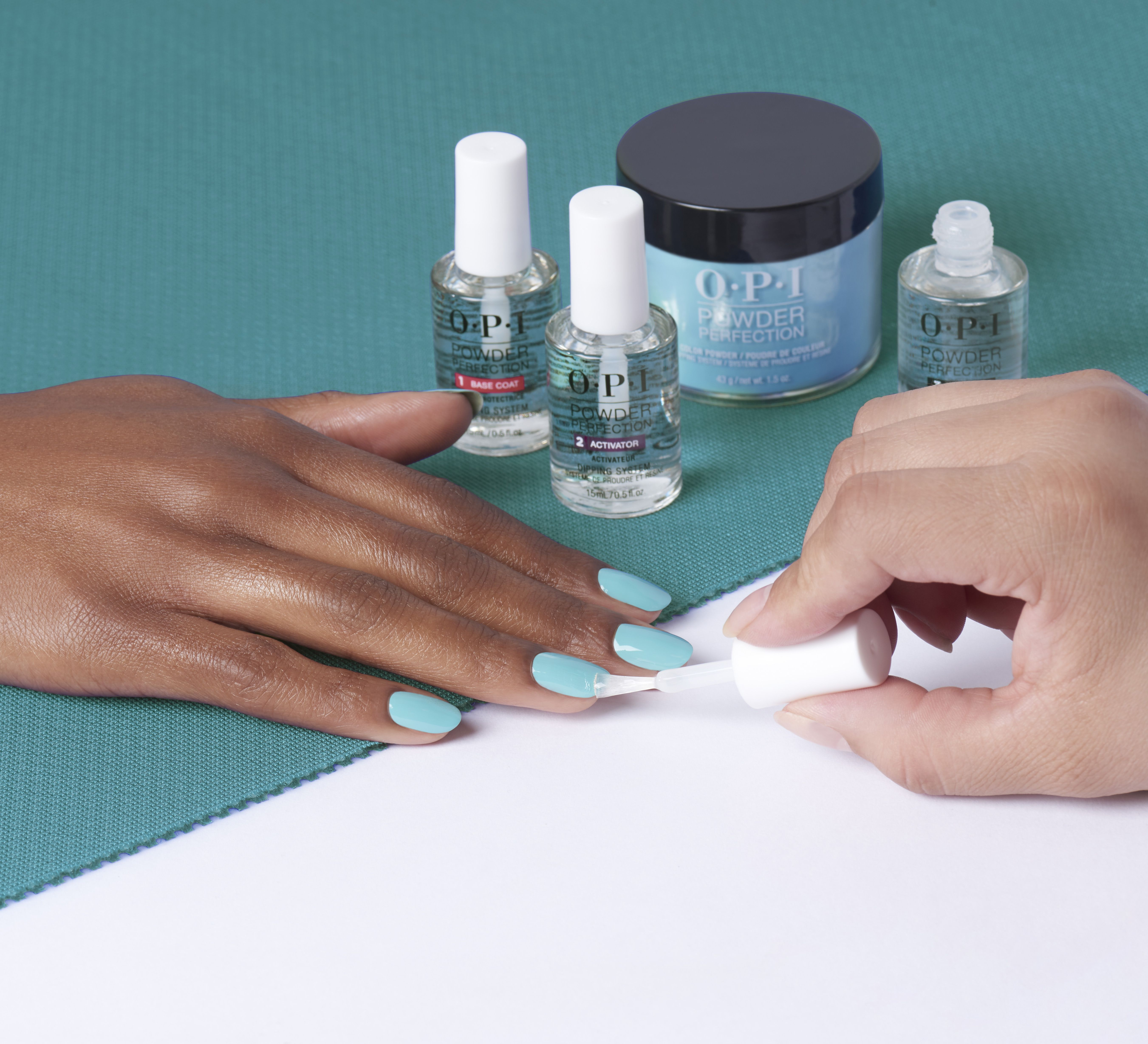 Light Blue Nails Are Here Try Out Can T Find My Czechbook In Opi Powder Perfection Dipping Powders At Your Green Nail Polish Green Nails Nail Colors