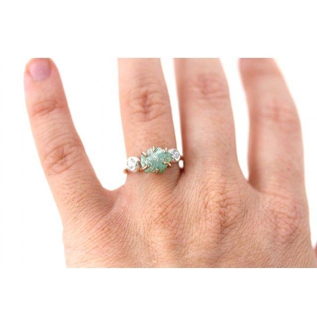 Today is a #mintygreen kinda day. #fuchsite #seafoam #rawgemstones #sapphires #ring #jewelry #alternativeengagement #engagement #bridal #madeinLA #alanadouvros