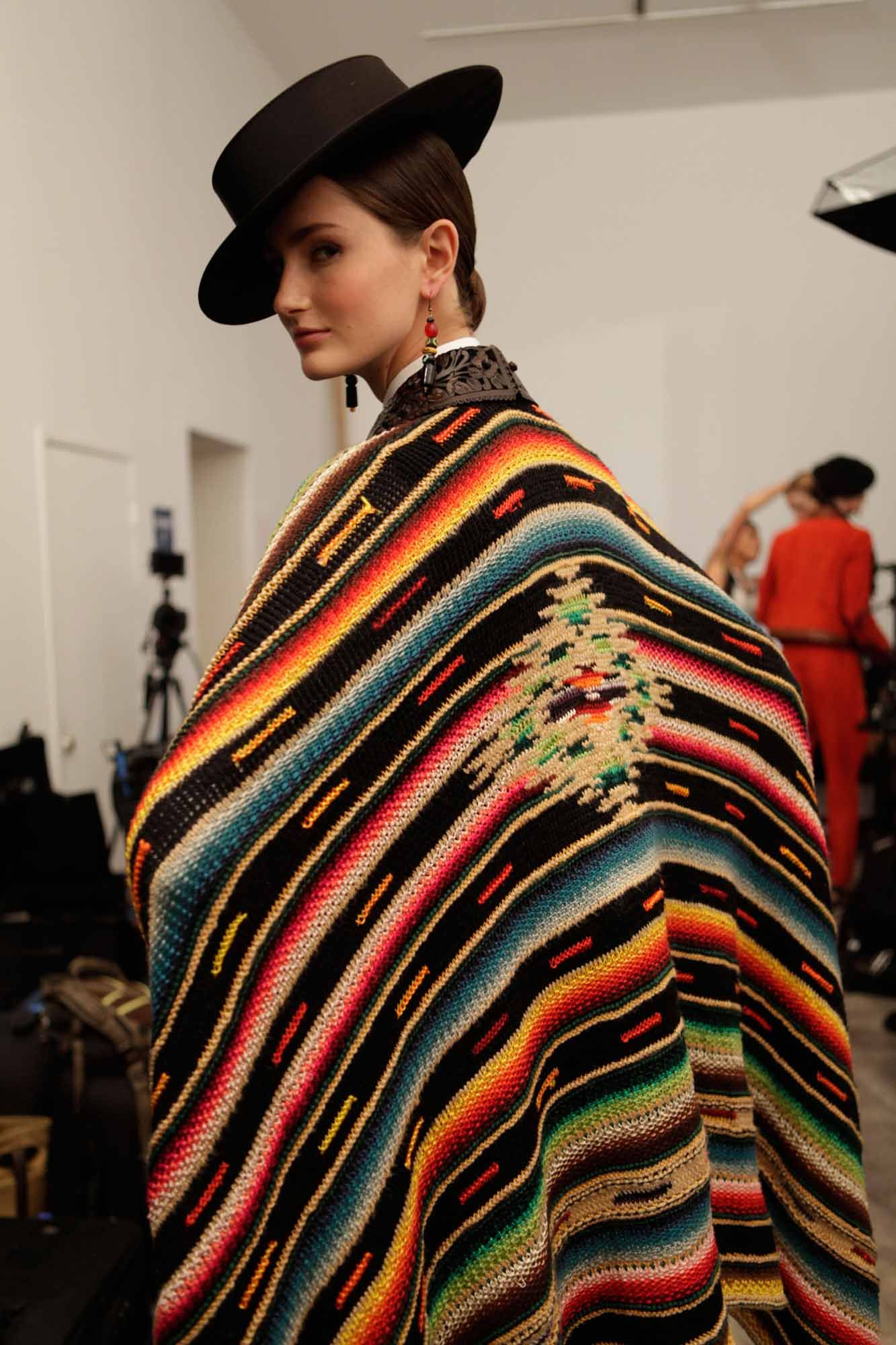 1eaf27998614 Sarape style backstage at Ralph Lauren. Photo  Elizabeth Lippman for ...
