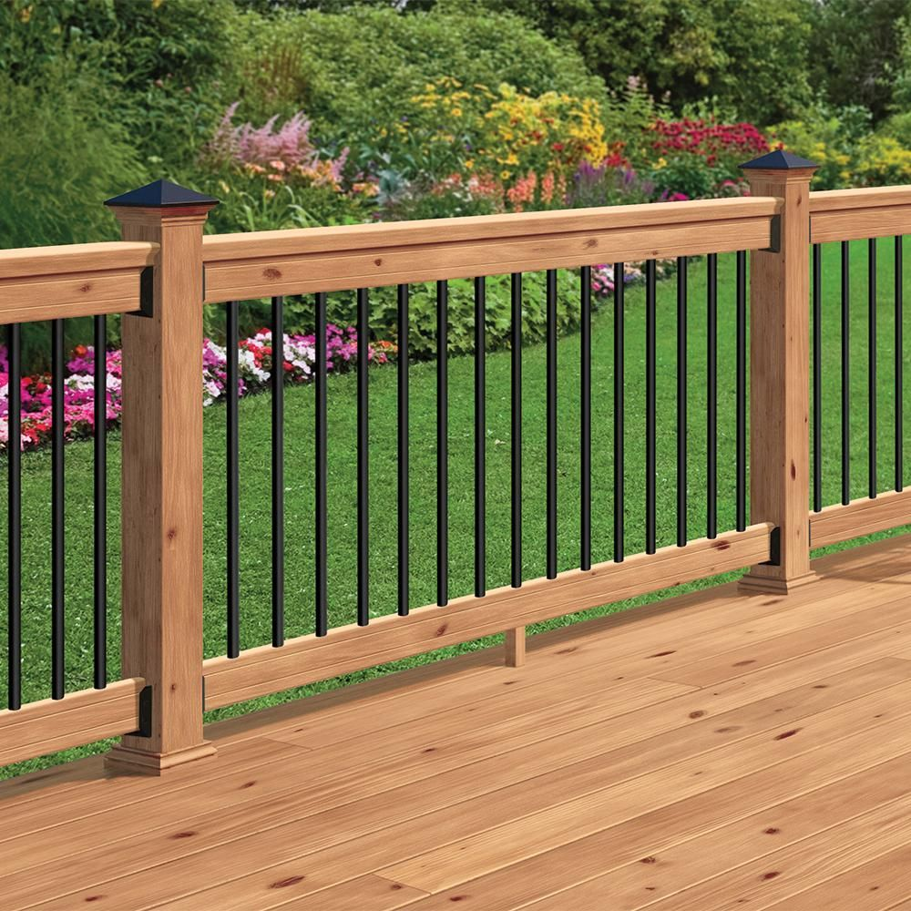 Deckorail 6 Ft Aluminum Cedar Tone Southern Yellow Pine Deck Railing Kit 196312 The Home Depot Wood Deck Railing Patio Deck Designs Decks Backyard