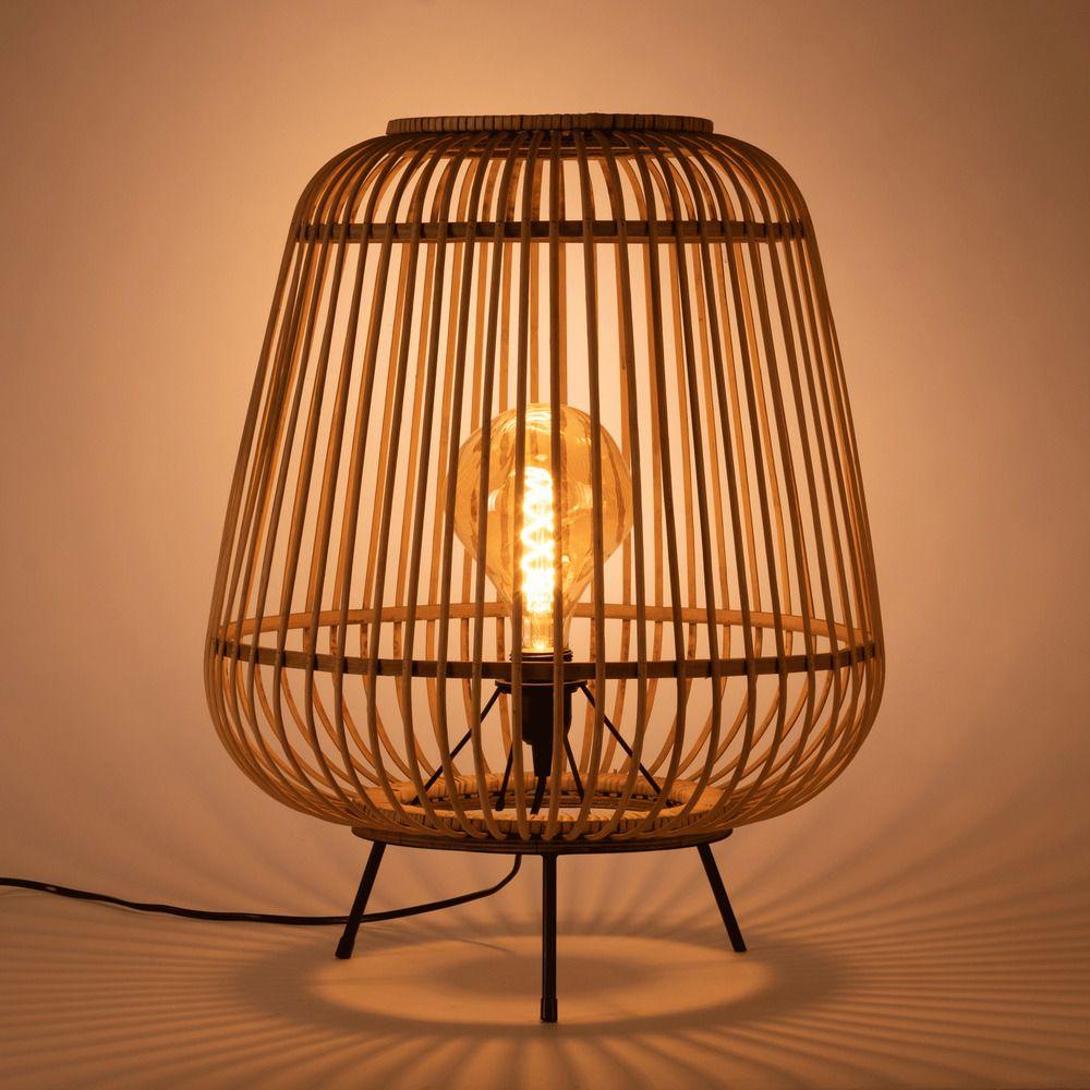 Lampe A Poser En Bambou Naturel D29xh37cm Nimes Lampe Lampe A Poser Lampe Bambou Lampe