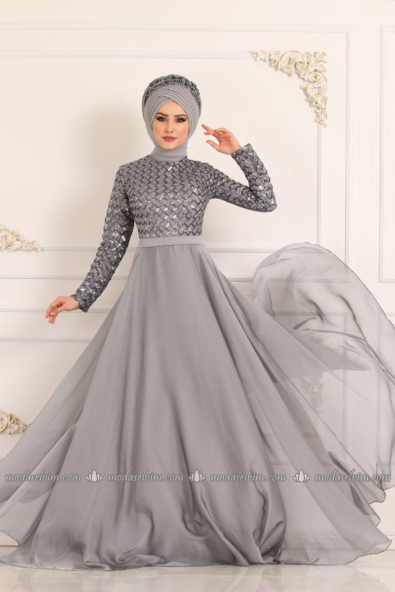Moda Selvim Pul Payetli Sifon Abiye 8127d170 Gumus Elbise Moda Gelinlik