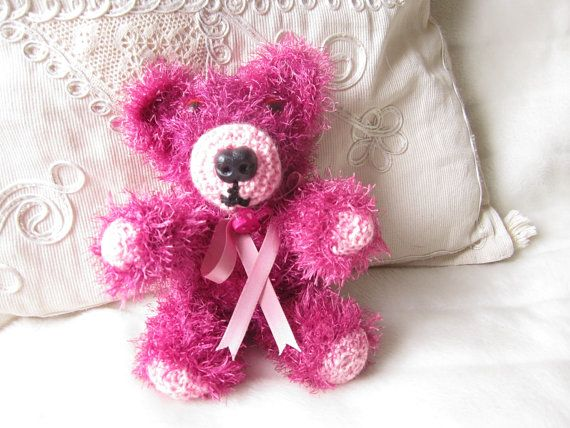Knitted bear Knitted teddy Minature bear Pink by LatharnaBears, £20.50