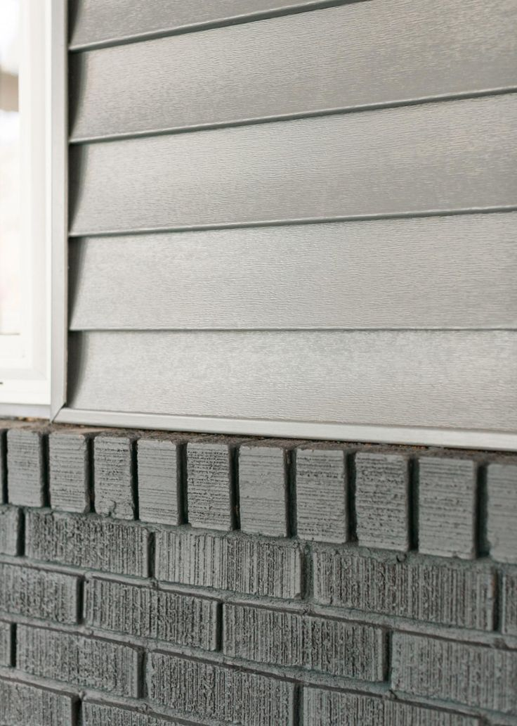 Grey exterior siding with dark grey stained brick Pinterest ...
