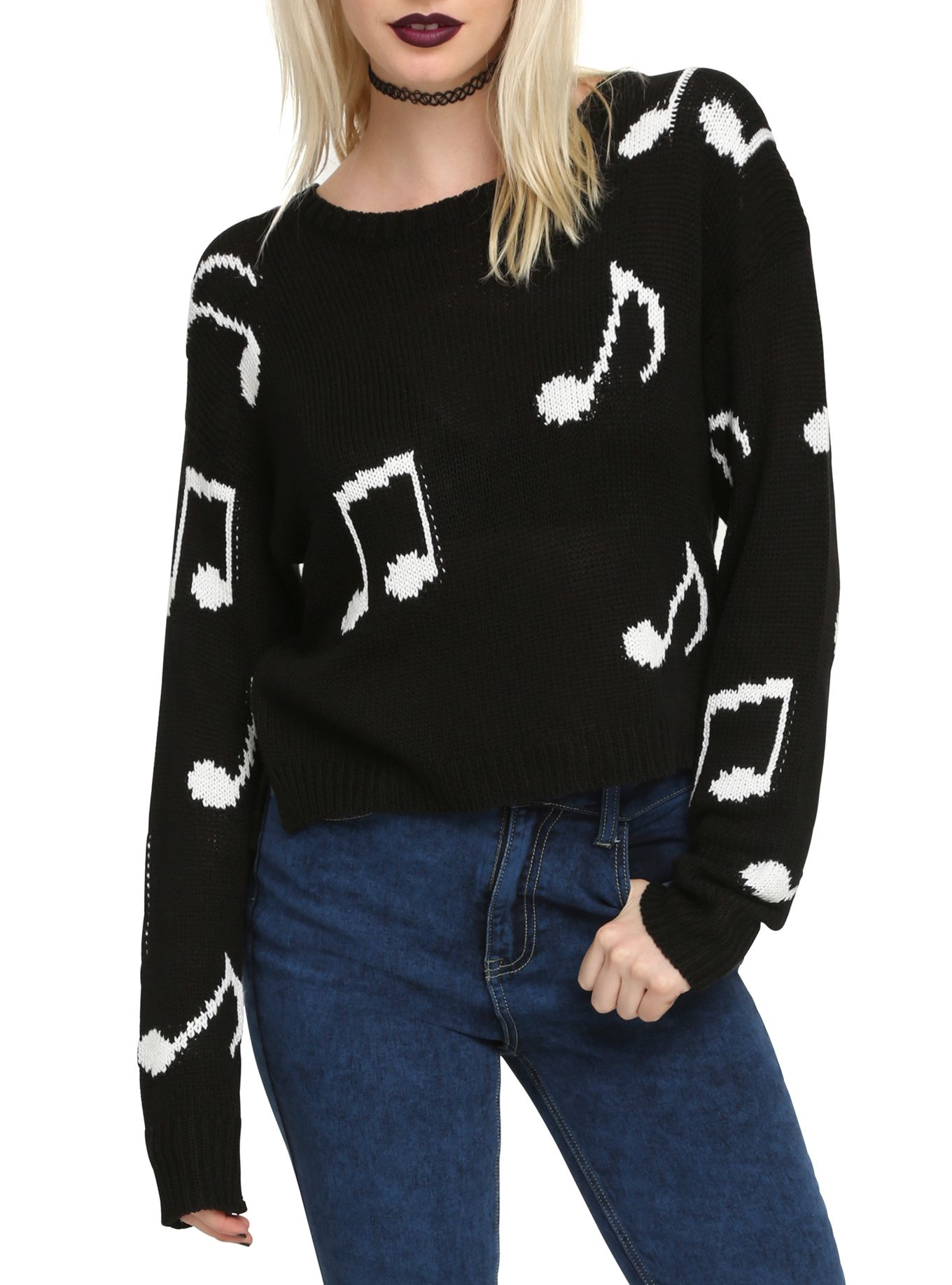 Black & White Music Note Girls Sweater | Note, Clothes and Hot topic